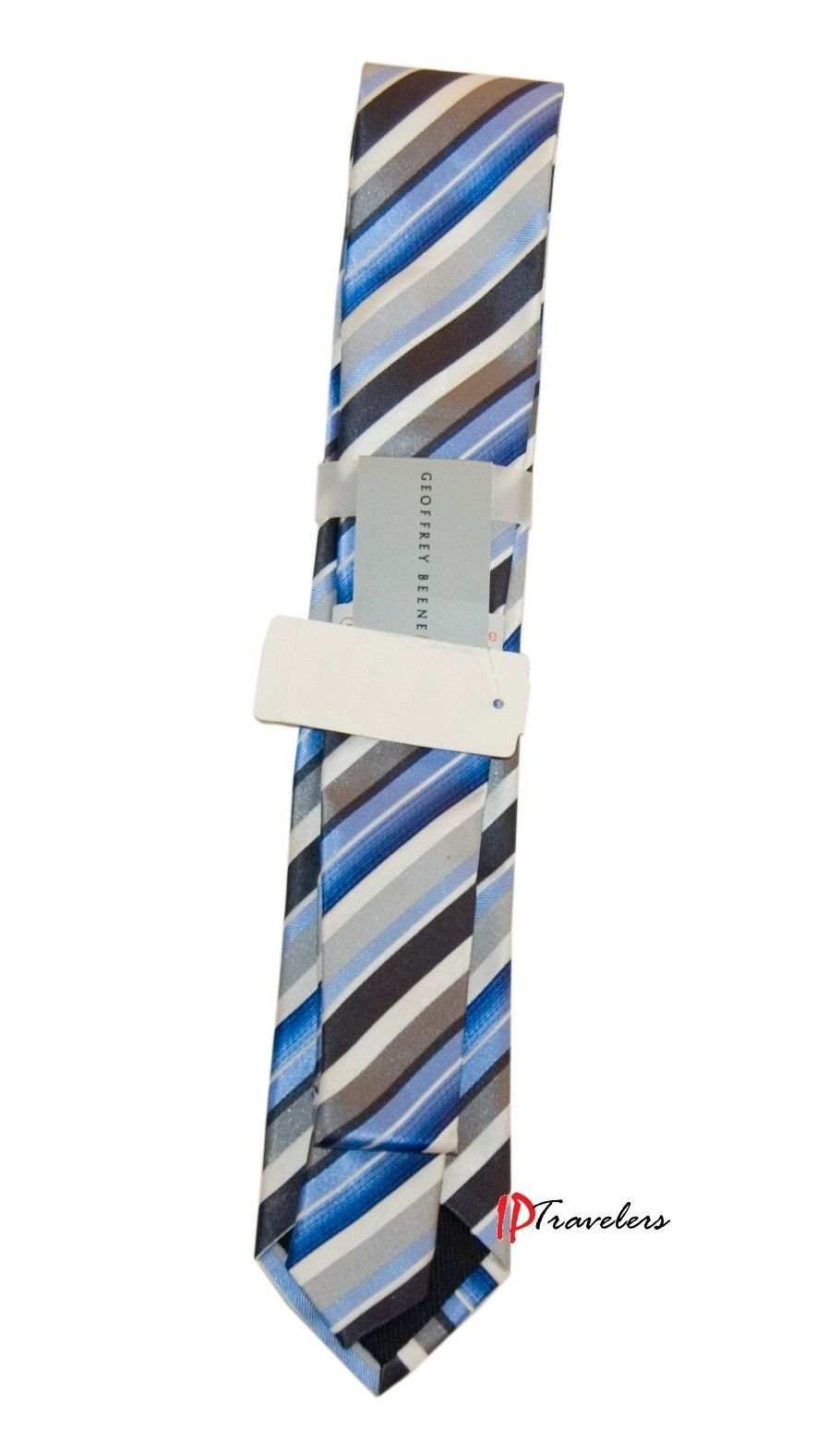 Geoffrey Beene Men's Neck Tie Slim Blue, Gray, Black and White Stripes 100% Silk image 2