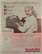 1947 BETTY GRABLE Remington Rand TYPEWRITER Print Ad New Key Margin Control - $9.99