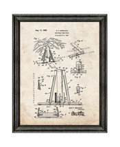 Christmas Tree Stand Patent Print Old Look with Black Wood Frame - $24.95+