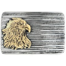 Sterling Silver Twisted Rope GOLD EAGLE BELT BUCKLE, Native Navajo Garri... - $449.00