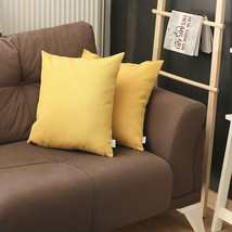 Set of 2 Yellow Textured Pillow Covers - $23.08