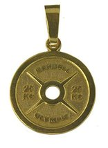 24K Gold pltd on real Sterling silver weight lifter plate charm no pain ... - $25.73