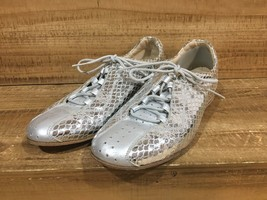 Stuart Weitzman Silver Metallic Textured Reptile Loafers Lace Up Shoes Size 5.5 - $64.33