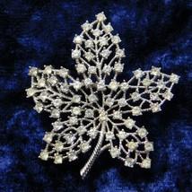 Vintage Crown Trifari Brooch Maple Leaf Openwork Rhinestones Silver Tone... - $50.27
