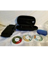 Sony PSP Carry Case Black Padded 3 Games Open Season Sims 2 Castaway Hot... - $33.20