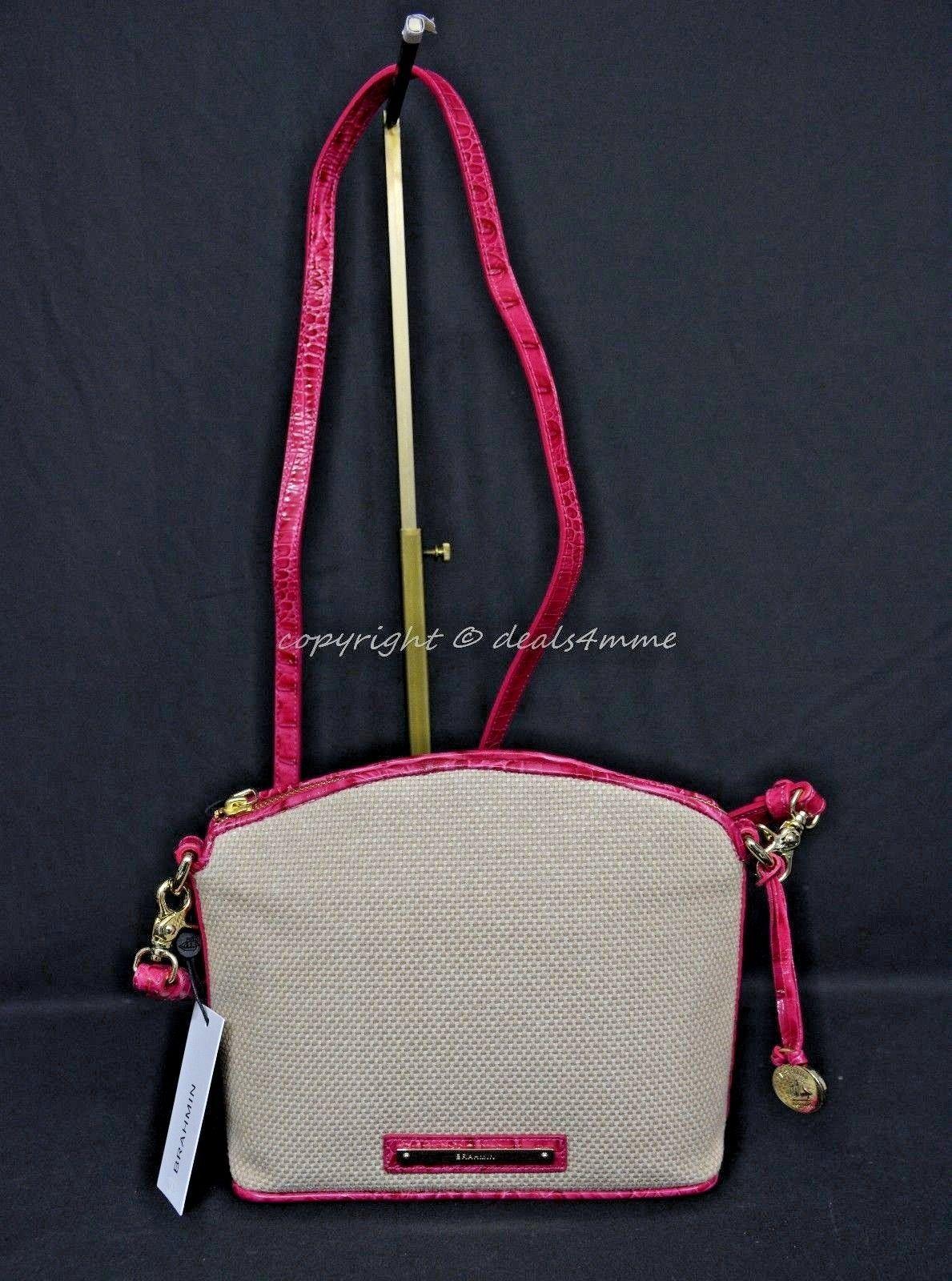NWT Brahmin Mini Duxbury Shoulder Bag in Punch Harbor, Pink Leather/Beige Fabric image 2