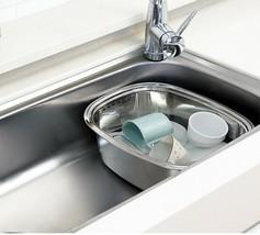 Kitchen Flower Stainless Steel Basin Dishpan Dish Washing Bowl Basket Rectangle image 2