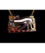 huge Egyptian Revival necklace - Udjat Eye of Horus Pectoral pendant - V... - $245.00