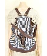 Steve Madden Girl bag backpack canvas blue white stripe brown faux leath... - $29.69