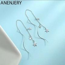 ANENJERY Delicate 925 Sterling Silver Star N Wave Long Tassel Earrings [... - $15.03