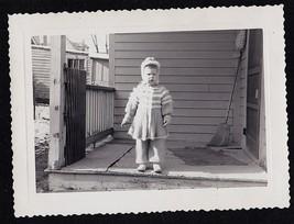 Antique Vintage Photograph Adorable Little Girl Standing on Front Porch - $5.35