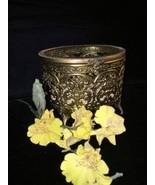 Vintage/Antique Brass Filigree Glass Trinket Bix - $17.82