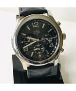 GUESS WaterPro 44mm Chronograph Stop Watch Silver Black Leather U12559G1... - $49.45