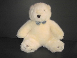 """MARY MEYER IVORY TEDDY BEAR WITH BOW TIE SITTING PLUSH TOY 12"""" - $13.86"""