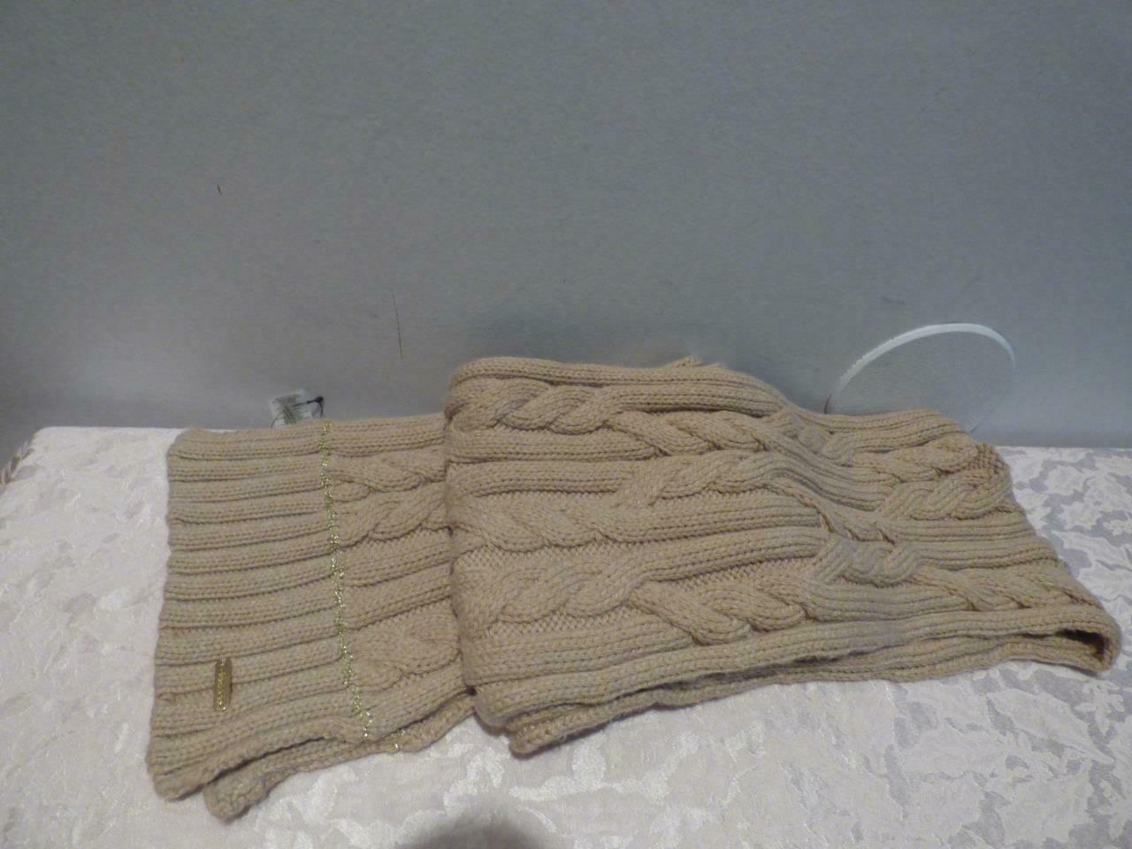 $58.00 Calvin Klein Lurex Trim Cable Knit Scarf - HEATHER ALMOND ,