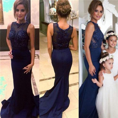 Ntadora azul marino sirena larga prom vestidos de dama de honor 2015 beaded vestidos las mujeres