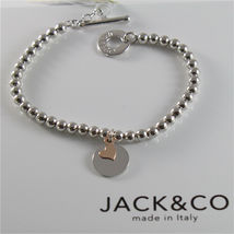 SILVER 925 BRACELET JACK&CO WITH BEADS SHINY AND PENDANT GOLD PINK 9 CARATS image 3