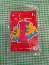 Letter I for Ice Skates Christmas Ornament Vintage Avon Wooden Decoratio... - $8.89
