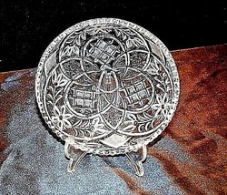 Cut Glass Candy Dish Detailed Etched Design AA18-11902 Vintage Heavy