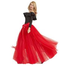 Black Pink White Slit Tulle Skirt High Waisted Full Length Slit Tulle Maxi Skirt image 9