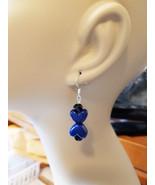 blue heart earrings long drop dangles beads plastic glass beaded handmade - $2.99
