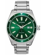 Citizen Eco Drive Men's Brycen Pine Green Dial Stainless Steel Watch AW1... - $193.03