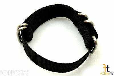 24mm Fits Luminox Nylon Woven Black Watch Band Strap 4 Stainless Steel Rings