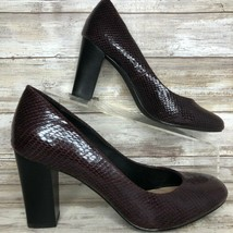 "Hush Puppies Moyen Maroon Leather Pump Snake Print Block 3.1/4"" Heel 6.5M - £31.54 GBP"
