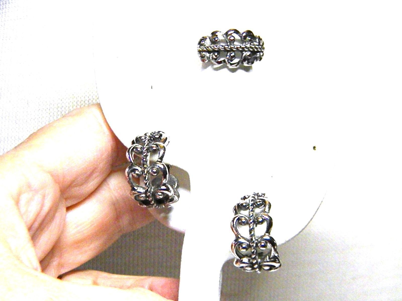 Avon Set Scrolled Design Silver tone Ring and Earrings Vintage
