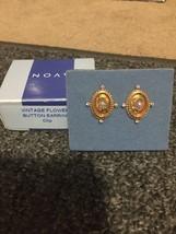 Avon Vintage Flower Button Clip Earrings NEW - $11.99