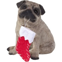 Sandicast Ornament Pug Fawn with Stocking Christmas Ornament (XS012204) - $20.89