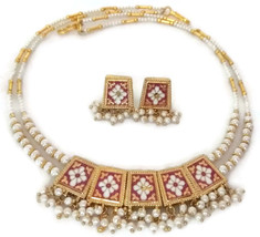 Indian Bridal Necklace Gold Plated Reversible Purple Black White Pearl Jewelry S - $17.75
