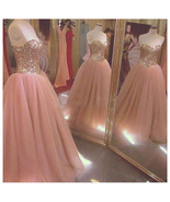 Stunning Rose Gold Sequin Long Quinceanera Dress Ball Gown Sweet 16 Quin... - $195.77