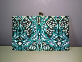 Teal, Black, Purple and White Floral Print Banana Republic Clutch - $13.27 CAD