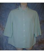 Womens Green White Check CJ Banks 3/4 Sleeve Shirt Size 1X good - $5.93