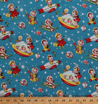 """60"""" Cotton Retro Rocket Rascals Babies Rockets Outer Space Fabric BTY D4... - $7.97"""