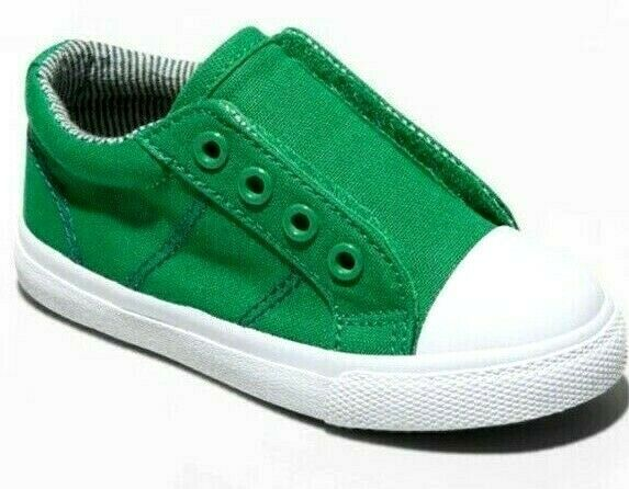 Cat & Jack Green Canvas Dwayne Slip-On Sneakers Shoes NWT