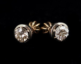 Vintage 14k Gold .5ct SI-HI Diamond Solitaire Industrial Style Stud Post... - $449.99