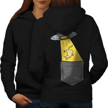Cat Alien Abduction Funny Sweatshirt Hoody  Women Hoodie Back - $21.99+