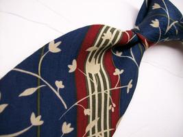 JOHN HENRY  Blue/Red FLORAL Stripes Mens 100  SILK Necktie  s * 12-9 - $15.99