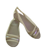 CROCS Iconic Comfort JELLY BEIGE CLEAR SILVER Slip ON Sandals Shoes Size... - $23.99