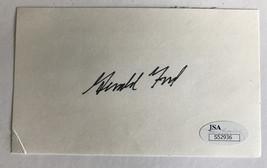GERALD FORD SIGNED INDEX CARD JSA COA CUT AUTOGRAPH PRESIDENT MICHIGAN W... - $139.00