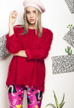 Fluffy knit jumper - 90s vintage red sweater - $34.04