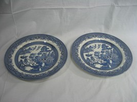 Blue Willow China Made Churchill Staffordshire England Set of Two Dinner... - $18.65