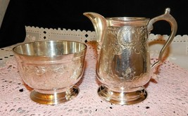 VINTAGE LEONARD HAND CHASED SILVER PLATE OPEN SUGAR & CREAMER BEAUTIFUL ... - $34.60