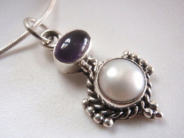 New Cultured Pearl & Amethyst 925 Silver Necklace India - $20.83