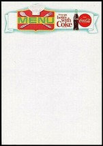 Vintage menu COCA COLA chefs hat and bottle picturing things go slogan u... - $8.09