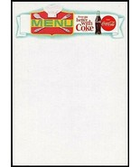 Vintage menu COCA COLA chefs hat and bottle picturing things go slogan u... - $8.99