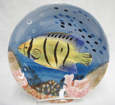 "222 Fifth Tropical Reef Fish Plate 9"" Yellow an... - $29.69"