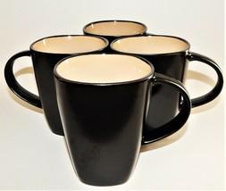 4 Gibson Soho Lounge Square Tea Coffee Mugs Cups Everyday Brown Tan New  - $31.68
